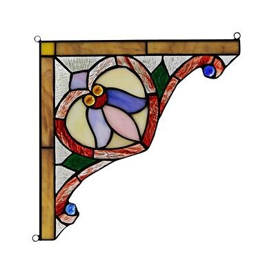 "Tiffany Style Stained Glass Corner Window Panels 10"" Wide Handcrafted PAIR"
