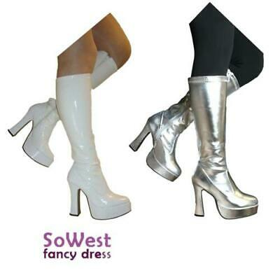 Gold Knee High Eyelet Platform Fancy Dress 60/'s 70/'s Retro Fashion Go Go Boots