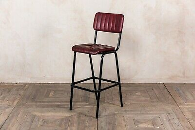 Red Upholstered Bar Stool In Vintage Style Faux Leather 76Cm Leather Look Stool