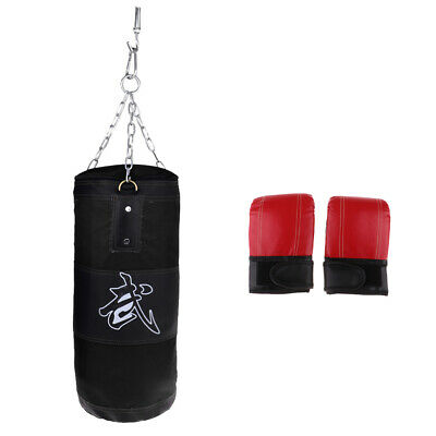 Unfilled Heavy Punching Bag With Kickboxing Mitts Boxing Gloves Waterproof