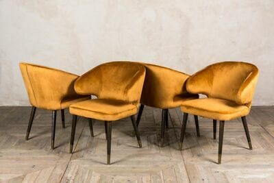 Set Of Four Ochre Velvet Dining Chairs Mid Century Style Vintage Style