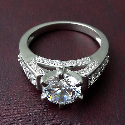 3ct Forever Moissanite Ring Near White Round Cut Engagement 925 Sterling Silver