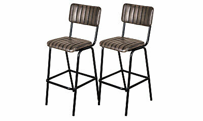 Pair Of Grey Upholstered Bar Stool In Vintage Style Faux Leather 76Cm Leather