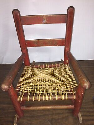 Beautiful Antique Vtg Child'S Cane Woven Wooden Rocking Chair W/ Original Decal