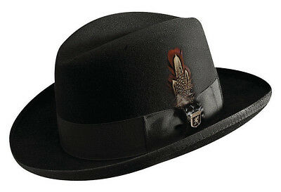 4f0ad0310d8 Stacy Adams   Men Black Wool Homburg Hat   New Lined Godfather Dress Suit  Fedora