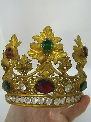 Impressive, Large French Multi Colored Stones jeweled Antique  Saints Crown