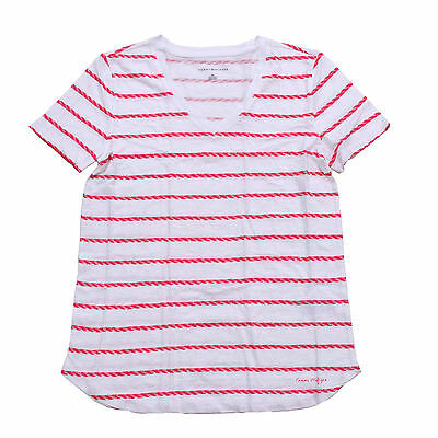 8c32f5cf Tommy Hilfiger Womens T-shirt Striped Graphic Tee V-neck Short Sleeve Xs S M