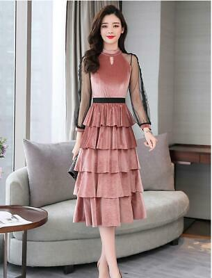 Women Elegant Lace Hollow Out Long Sleeves O-Neck Velvet Layered Leisure Dress