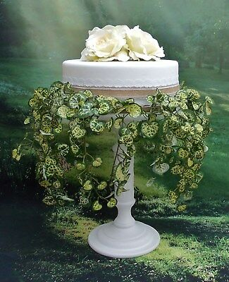 TALL 12 inch WHITE PAINTED HAND MADE WOODEN PEDESTAL WEDDING CAKE STAND