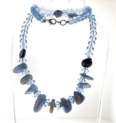 Natural Chalcedony and Blue Crystal Bead Necklace Strand 22""