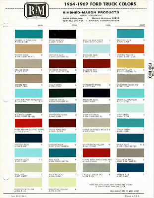 1964 1965 1966 1967 1968 1969 1970 Ford F-100 250 Pickup Truck Paint Chips (R-M)