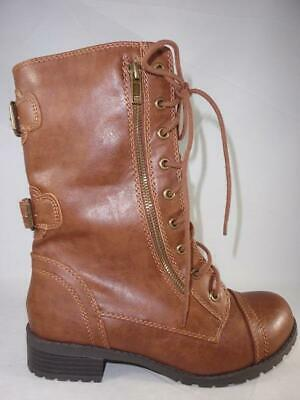 6938def8f SODA DOME-SA Women's Combat Boots Brown Mid Calf Casual Zip/Lace Up New