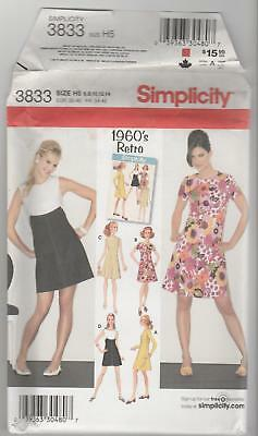 Simplicity Sewing Pattern 3833 Retro 1960's Style Dresses Sz 6-14