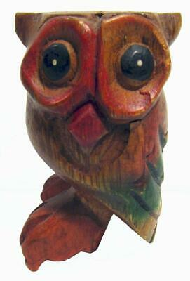 Owl Hooter Whistle Hand Carved Wood Painted Thailand 8.5 x 5 cm
