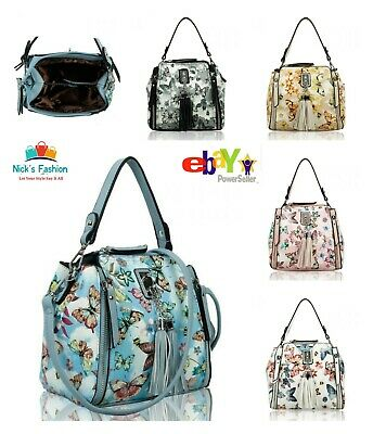 Womens Girls Stylish Butterfly Print Messenger Bag With Front Zip & Tassel Charm