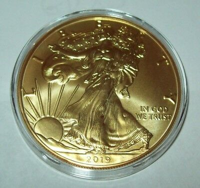 2019 Gold Gilded American Silver Eagle 1 Troy Oz. .999 Fine One Dollar Coin