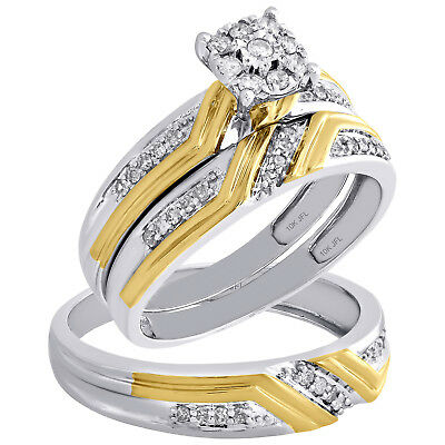 10K Two Tone Gold Diamond Trio Set Matching Flower Engagement Ring & Band 1/3 Ct