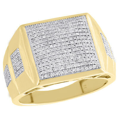 10K Yellow Gold Diamond Dome Cluster Square Step Shank Mens Pinky Ring 0.44 CT