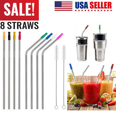 """10.5"""" Stainless Steel Metal Drinking Straws For Yeti RTIC Tumbler 20 or 30 oz US"""
