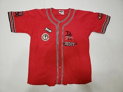 VTG 90s DKNY Donna Karan Baseball Jersey Hip Hop Rap RED vintage LARGE 814472681428