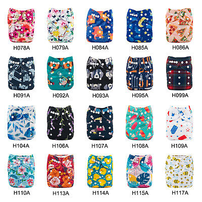 ALVABABY Reusable Baby Cloth Diapers Washable Baby Cloth Pocket Insert Nappies