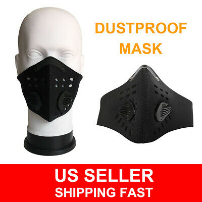 Black Outdoor Anti Smoke Dust Air Purifying Face Mask Carbon Filter Unisex Mask