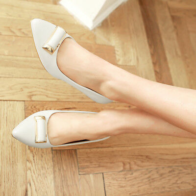 HOT Womens Low Heels Pumps Flat Antiskid Pointed Shiny Shoes UK Size GD4092