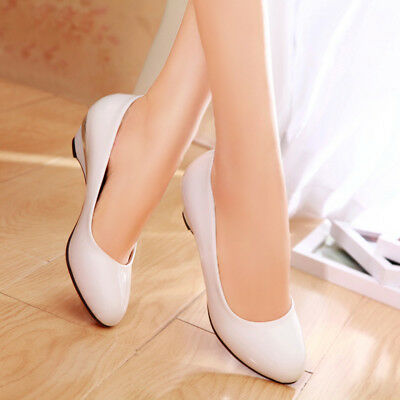 HOT Womens Middle Heels Pumps Chunky Antiskid Pointed Shoes UK Size GD3341