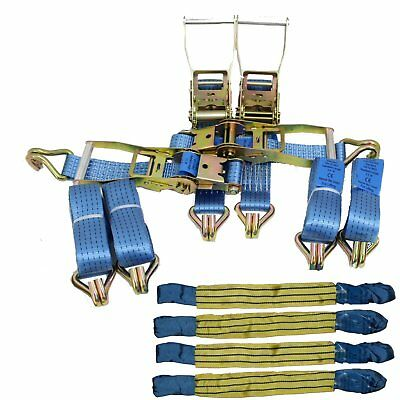 """Recovery Ratchet 4 x 4mtr Blue Transporter Strap Standard Handles 18"""" Soft Ring"""