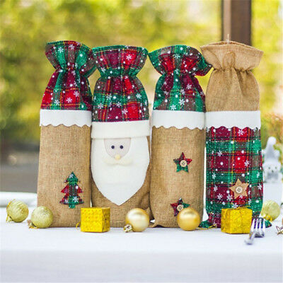 Merry Christmas Wine Bottle Bag Cover Santa Claus Xmas Gift Party Table Decor BS
