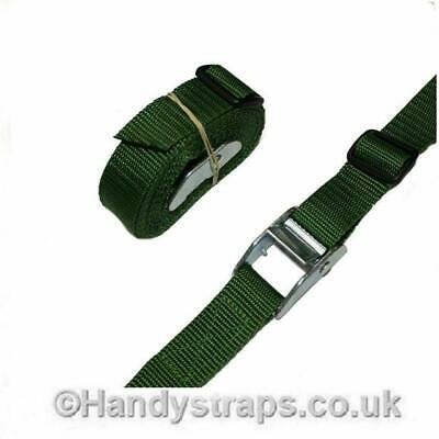 Cam Buckles Tie Down Straps 2 x 25mm 5 Metre GREEN endless