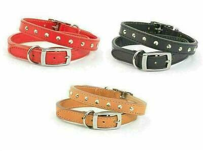 Dog Collar Heritage Studded Hand Sewn Ancol Quality Leather - Black Red Tan