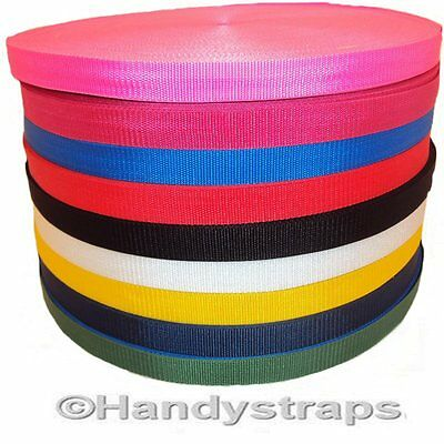 """Polypropylene Webbing 25 meter Roll x 25mm colour 1"""" and Choice of Colour"""