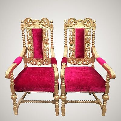 2 Antique Jacobean Oak Golden Throne Chairs / Wedding Party Photography Prop