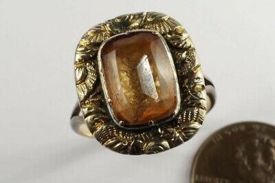 ANTIQUE GEORGIAN PERIOD ENGLISH GOLD FOILED ORANGE CRYSTAL ? RING c1820
