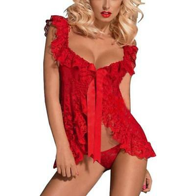 Women Ladies Sexy Lace Lingerie Sleepwear Nightwear Babydoll G-string Dress BS