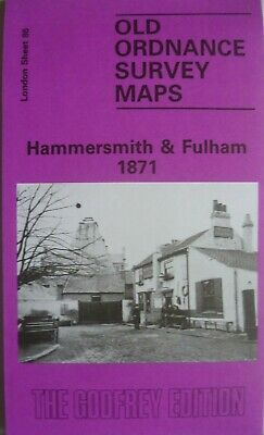 Old Ordnance Survey Detailed Maps Hammersmith & Fulham London 1871 Godfrey Edt