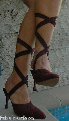 VINTAGE Natasha Chic Eye Catching Flirty Lace up Heels Size 40