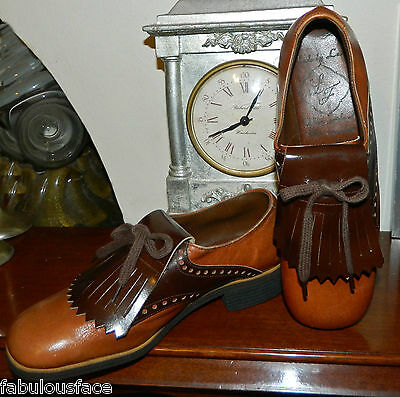 VINTAGE Rockabilly 1950s-60s Made by Leslie LF Leather Golf Shoes  size 6