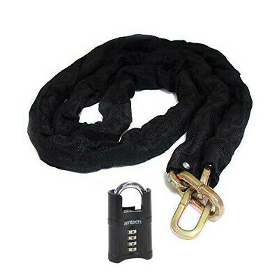 50mm 4 DIGIT COMBINATION PADLOCK + 6FT X 8MM SQUARE LINK CHAIN HEAVY DUTY