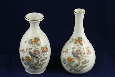 Two 2 Wedgwood Bone China Kutani Crane R4464 Vases