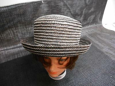 1697ab6b237 Old Vtg PLATANIA WOMEN S 100% STRAW HAT Black White Made Italy RN75343  Fashion