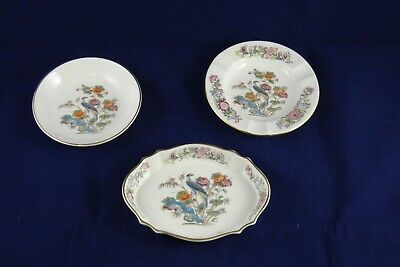 3 Pieces Wedgwood Bone China Kutani Crane R4464 Coaster Trinket Dish Ashtray