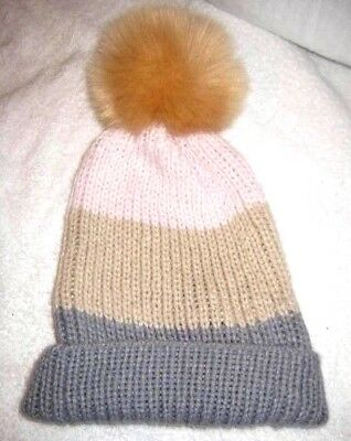 Norla Canada Womens Beanie Hat Gray Pink Stripe Pompom Wool Thick Cable Knit 03c5a3b75dff