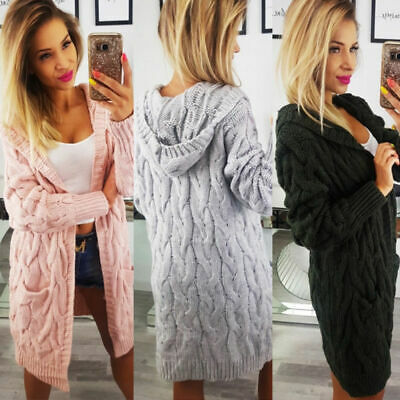 UK Womens Long Sleeve Cable Knitted Jumper Cardigans Coats Pocket Hooded Sweater