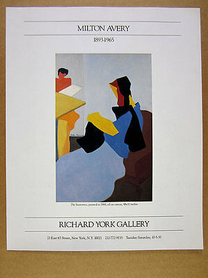 1988 Milton Avery 'The Seamstress' painting Richard York Gallery vintage Ad