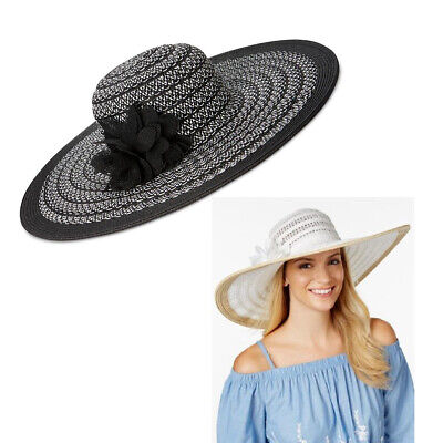 55c9a548187ccc New NINE WEST Chic Packable Floppy Sun Hat With Black Flower Pin Womens UPF  25+