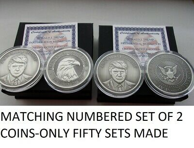 2-Donald Trump 1 Oz .999 Silver Coins *inauguration And Presidential Seal Coins