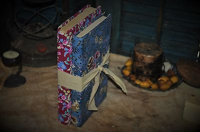 2 Primitive Time Worn 19c Fabric Covered Books Calico Prints Old Blues & Red