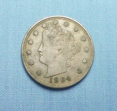 """1904 Liberty Head Nickel United States, Composition Copper/Nickel  """"F+"""""""